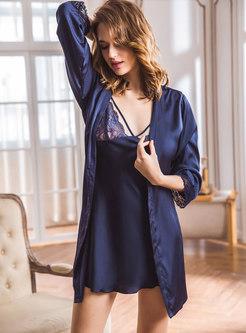 Lace Patchwork V-neck Mini Robe Set