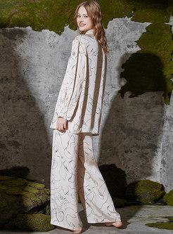 Lapel Long Sleeve Wide Leg Pajama Set