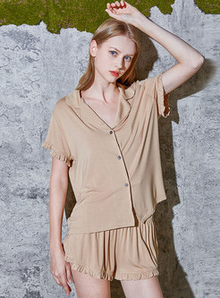 Pure Color Brief Modal Pajama Set
