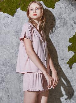 Pink Notched Short Sleeve Pajama Set