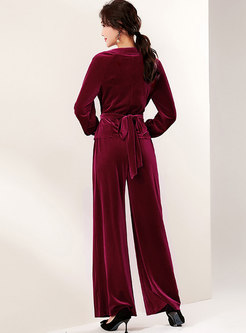 Brief V-neck Velvet Wide Leg Pant Suits