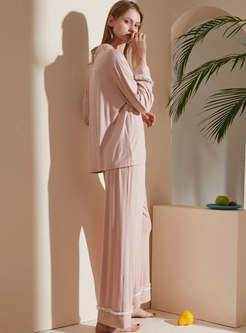 Pink Sweet Long Sleeve Wide Leg Pajama Set