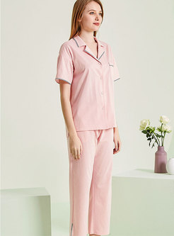 Short Sleeve Single-breasted Loose Pajama Set