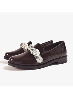 Polka Dot Bowknot Round Toe Loafers