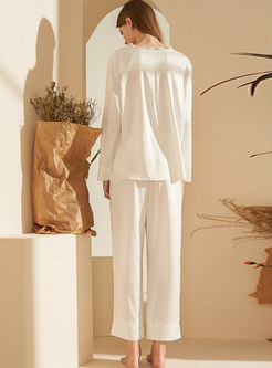V-neck Single-breasted Wide Leg Pajama Set