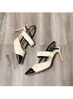 Color-blocked Pointed Toe Velcro Sandals