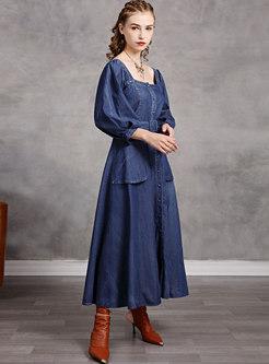 Square Neck Long Sleep Denim Maxi Dress