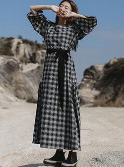 Retro Square Neck Plaid A Line Maxi Dress