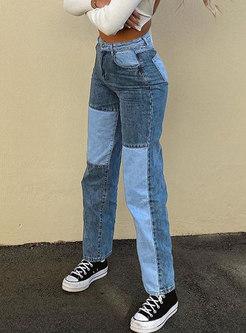 High Waisted Denim Patchwork Straight Pants