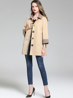 Turn Down Collar Plaid Patchwork Trench Coat
