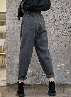 High Waisted Casual Denim Harem Pants