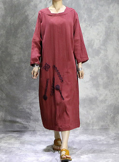 Plus Size Red Embroidered Linen Shift Dress