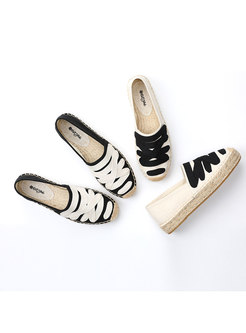 Color-blocked Rounded Toe Flat Espadrilles