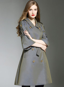 Flare Sleeve Double-breasted A Line Trench Coat