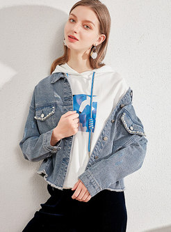 Turn Down Collar Beaded Ripped Denim Jacket