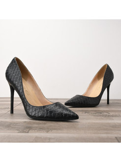 Snake Print Pointed Toe Low-fronted Pumps