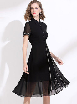 Black Chiffon High Waisted Skater Dress