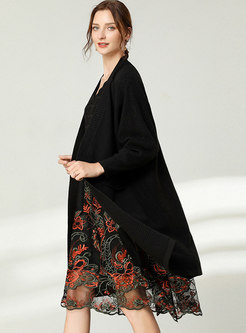 Plus Size V-neck Patchwork Shift Dress