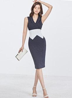 Sleeveless Bowknot Striped Pencil Dress