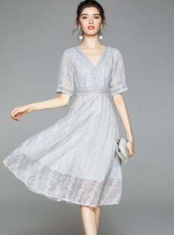 Half Sleeve Openwork Lace Embroidered Dress
