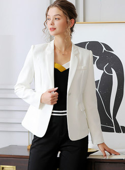 White Notched Slim Short Office Blazer