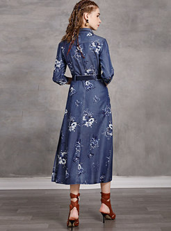 Turn Down Collar Print Half Sleeve Denim Dress