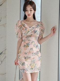 Pink Print Puff Sleeve Sheath Mini Dress