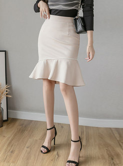 High Waisted Ruffle Beaded Peplum Skirt