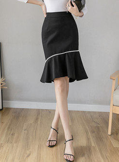 High Waisted Ruffle Beaded Peplum Skirt