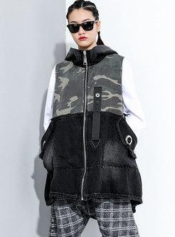 Hooded Camouflage Patchwork Denim Vest