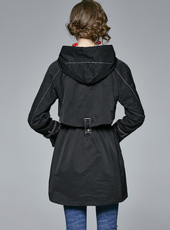 Hooded Drawstring Patchwork Trench Coat