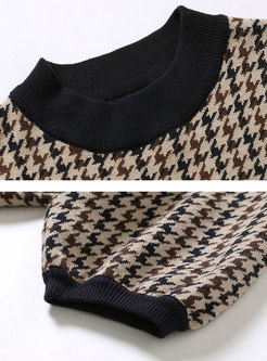 Houndstooth Puff Sleeve Pullover Knit Top