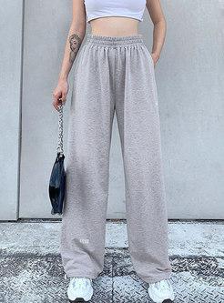 Casual Elastic Waisted Wide Leg Pants