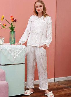 Sweet Heart Print Turn Down Collar Pajama Set