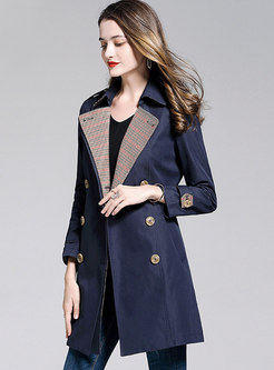 Houndstooth Notched Patchwork A Line Trench Coat