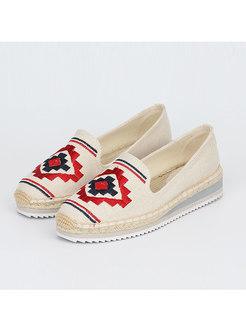 Rounded Toe Embroidered Platform Espadrilles
