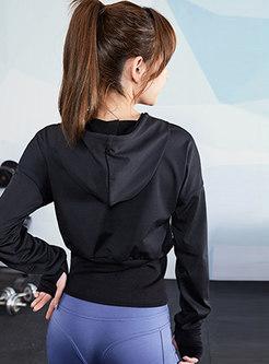 Drawstring Hooded Pullover Sports Sweatshirt
