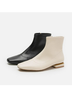 Square Toe Low Heel Ankle Boots