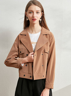 Double-breasted Notched Short PU Jacket