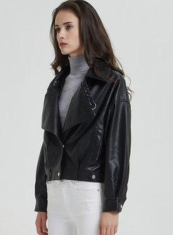 Black Lapel Short Biker PU Jacket