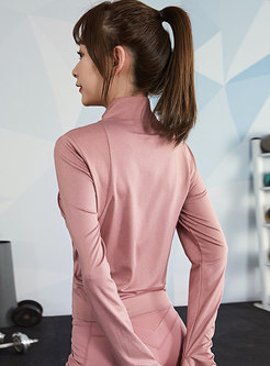 Long Sleeve Solid Color Sports Jacket
