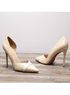 Pointed Toe Patchwork High Heel Shoes