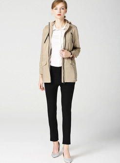 Front Zipper Hooded Straight Trench Coat