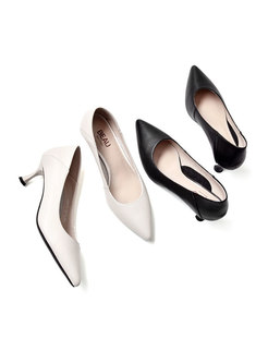 Solid Color Pointed Toe Thin Heel Pumps