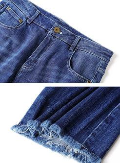 Blue Denim Fringed Hem Flare Pants