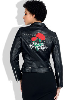 Embroidered Rivet Side Zipper Biker Jacket