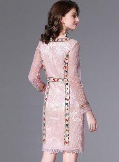 Lace Embroidered Beaded Sheath Mini Dress