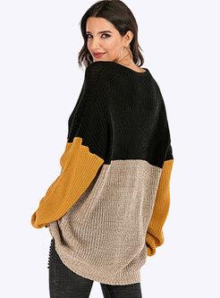 Color Block Crew Neck Loose Sweater
