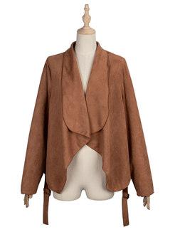 Lapel Solid Color Suede Straight Coat
