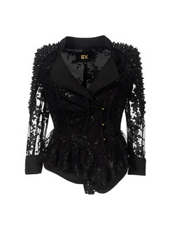 Black Lace Patchwork Rivet Slim Short Jacket